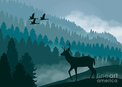 Painting - Deer And Geese With Mountains by Tim Gilliland