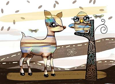 Deer And Owl Art Print by Karin Taylor