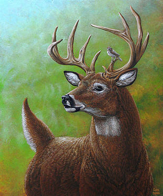 Deer And Sparrow Art Print