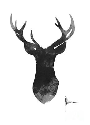 Deer Antlers Watercolor Painting Art Print Print by Joanna Szmerdt