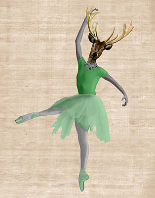 Deer Ballet Dancer Green Art Print by Kelly McLaughlan