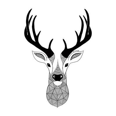Fox Digital Art - Deer Black And White by Art Et Be