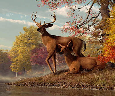 Lakeshore Digital Art - Deer By An Autumn Lake by Daniel Eskridge