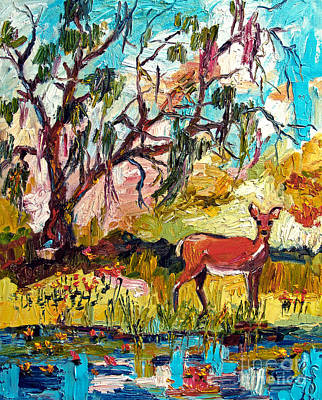 Painting - Deer By The Lake by Ginette Callaway