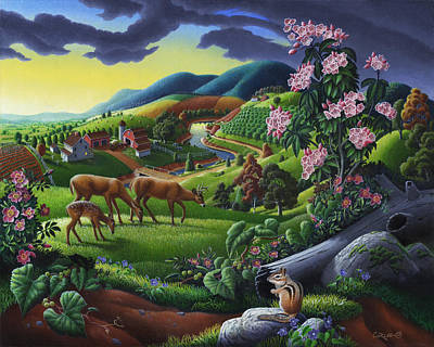 Vermont Landscape Painting - Deer Chipmunk Summer Appalachian Folk Art - Rural Country Farm Landscape - Americana  by Walt Curlee