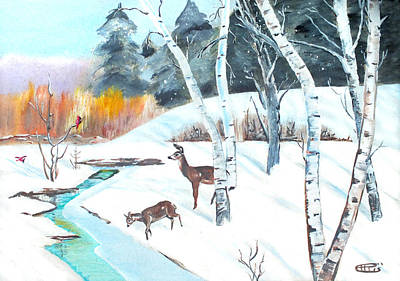 Painting - Deer Creek In Winter by Chris McCullough