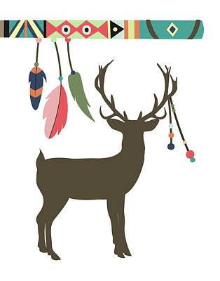 Deer Feathers Art Print by Tamara Robinson