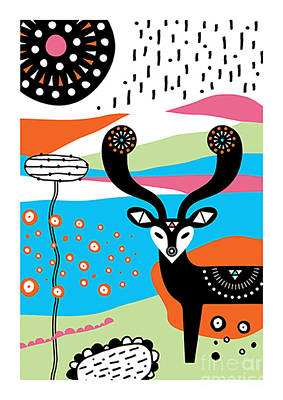 Festival Digital Art - Deer Garden by Susan Claire
