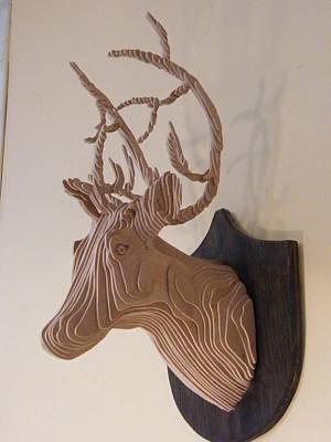 Wall Mounting Sculpture - Deer Head by Motti Inbar