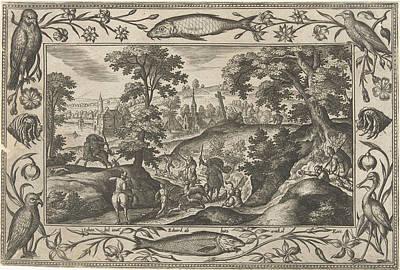 Deer Hunting, Adriaen Collaert, Eduwart Van Hoeswinckel Print by Adriaen Collaert And Eduwart Van Hoeswinckel