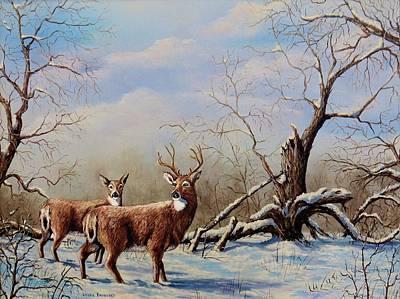 Winter Scene Painting - Deer In Crete by Laurine Baumgart