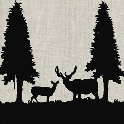 Pinetree Painting - Deer In Forest by Enzie Shahmiri