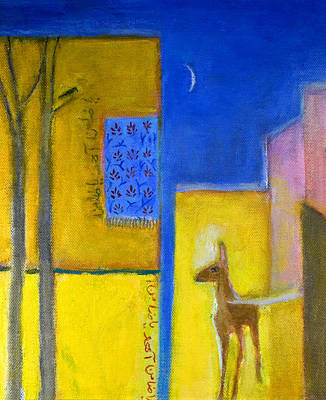 Iznik Photograph - Deer In The City, 2011 Oil On Canvas by Roya Salari
