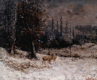 Deer In The Snow Art Print by Gustave  Courbet