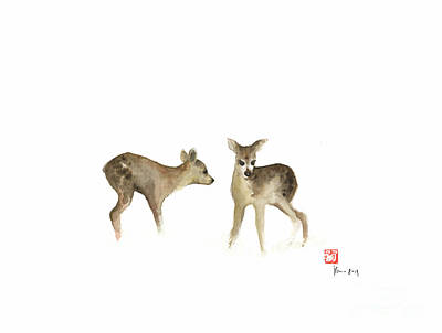 Deer Nature Brown Colors Earth Animal Animals Pet Pets Forest Wild Watercolor Painting Art Print