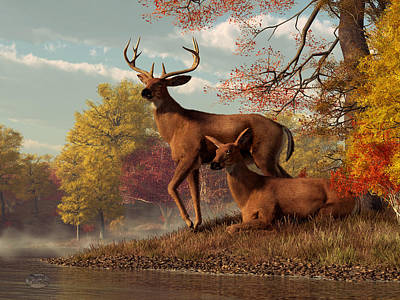 Deer On An Autumn Lakeshore  Art Print by Daniel Eskridge