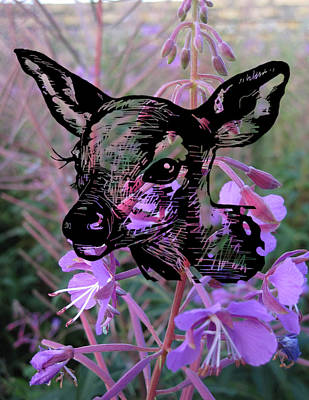 Deer On Flower Art Print by Konni Jensen