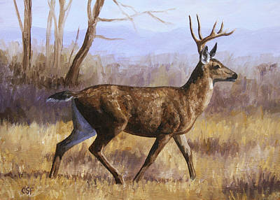 Deer Painting - Trotting Buck Original by Crista Forest