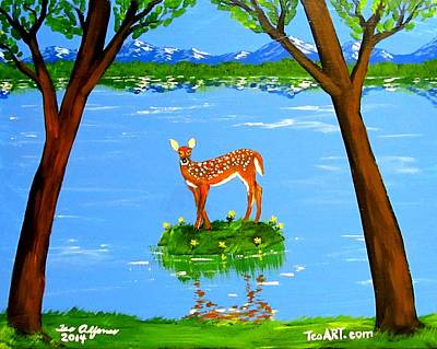 Painting - Deer Solo by Teo Alfonso