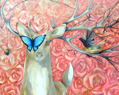 Painting - Deer To My Heart Horizontal Image by Dina Dargo