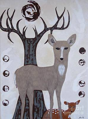 Painting - Deer Totem Protected By Antler Tree by Jean Fry