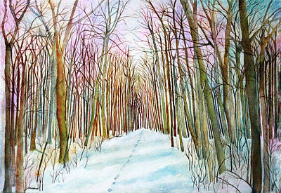 Painting - Deer Tracks In Snow by Janet Immordino