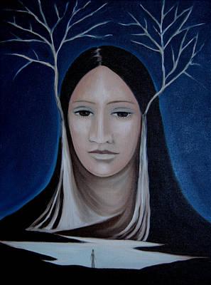 Art Print featuring the painting Deer Woman  by Tone Aanderaa