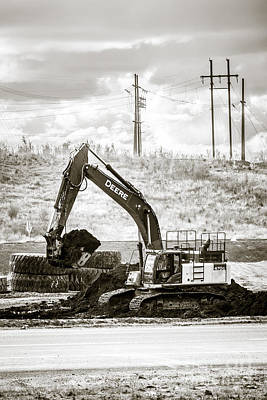 Artist Working Photograph - Deere Black And White Action by Alanna DPhoto