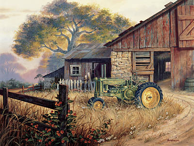 Barn Landscape Painting - Deere Country by Michael Humphries