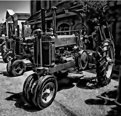 Photograph - Deere Tractor Art Bw by Lesa Fine