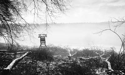 Photograph - Deerstand In The Fog - Black And White Landscape by Matthias Hauser