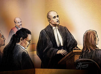 Art Print featuring the painting Defence Lawyer Edward Sapiano At Jennifer Pan Trial by Alex Tavshunsky