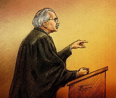 Drawing - Defence Lawyer Robert Nuttall by Alex Tavshunsky