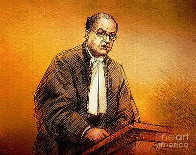 Painting - Defence Lawyer Robert Richardson At Richard Kachkar Trial by Alex Tavshunsky