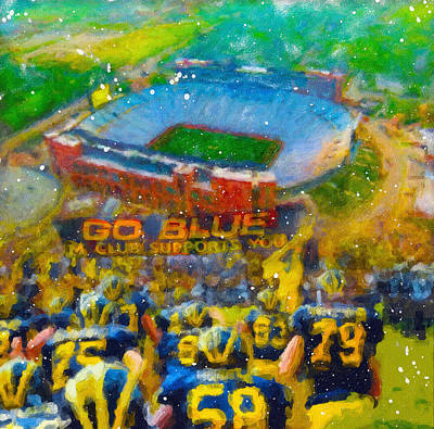 University Of Michigan Painting - Defending The Big House by John Farr