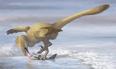 Bird On The Ground Digital Art - Deinonychus Antirrhopus Preys On A Fish by Emily Willoughby