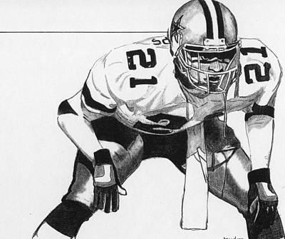 Dallas Drawing - Deion Sanders by Brian Condron