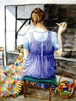 Dressmaker Painting - Deirdre Sewing Patchwork In Maganey by Trudi Doyle