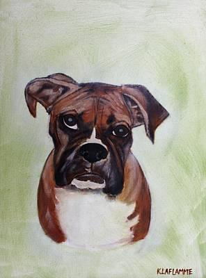 Boxer Painting - Deklin by Karen Laflamme