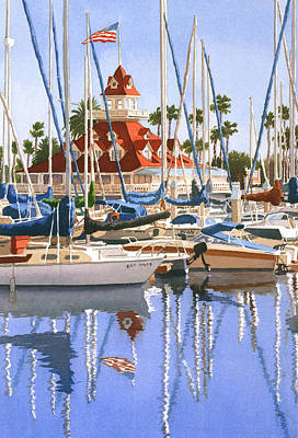 Coronado Painting - Del Coronado Boathouse by Mary Helmreich