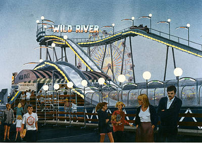 Roller Coaster Painting - Del Mar Fair At Night by Mary Helmreich