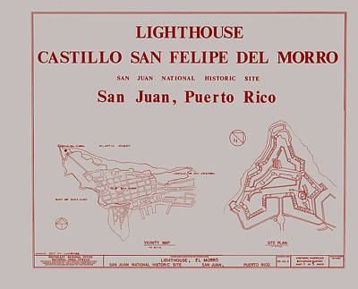 Lighthouse Drawing - Del Morro Lighthouse - San Juan Puerto Rico by Mountain Dreams