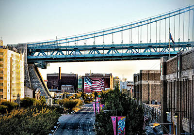 Delaware Avenue And The Ben Franklin Bridge Art Print by Bill Cannon