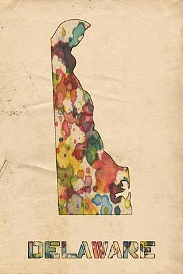 United States Map Painting - Delaware Map Vintage Watercolor by Florian Rodarte
