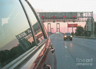 Photograph - Delaware Memorial Bridge At The Sunset. Texturized. Mirror Reflections Series. by Ausra Huntington nee Paulauskaite