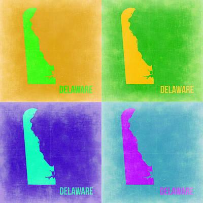 Delaware Painting - Delaware Pop Art Map 2 by Naxart Studio