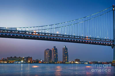 Photograph - Delaware River Ben Franklin Bridge Downtown Night Phila Pa by David Zanzinger