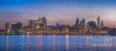 Philadelphia Skyline Photograph - Delaware River Night Phila Cityscape Reflections  by David Zanzinger