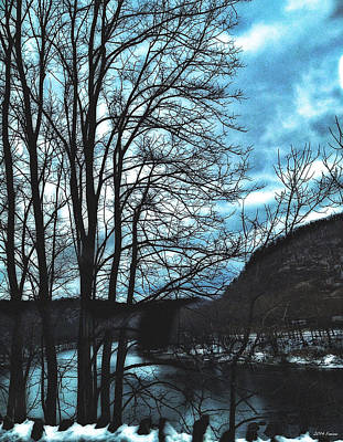 Digital Art - Delaware River Winter Blues by Maggie Vlazny