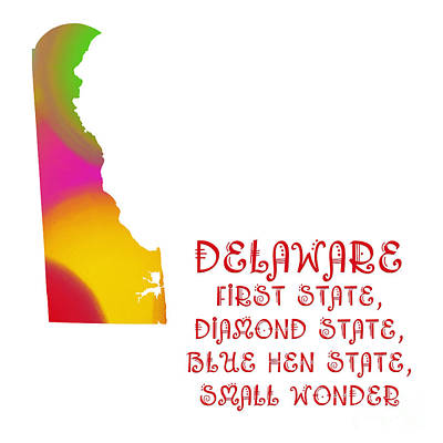 Digital Art - Delaware State Map Collection 2 by Andee Design
